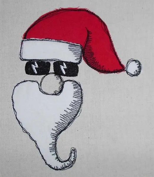 Embroidery Design Cool Santa C Doodle