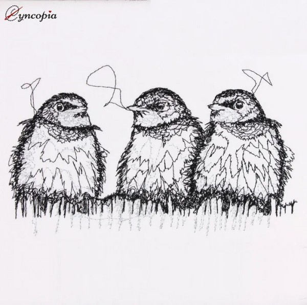 Embroidery Design Three Swallows Scribble