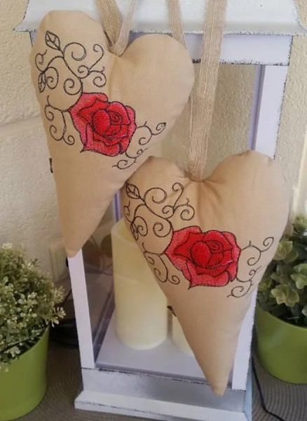 Embroidery Design Heart Rose ITH