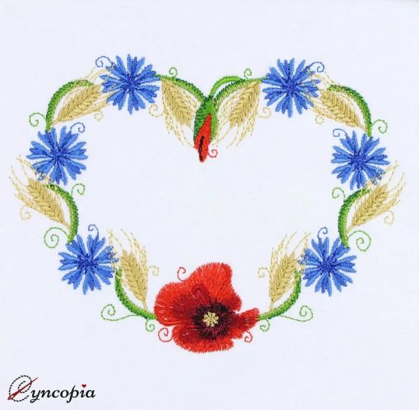 Embroidery Design Cornflower Ear Poppy heart