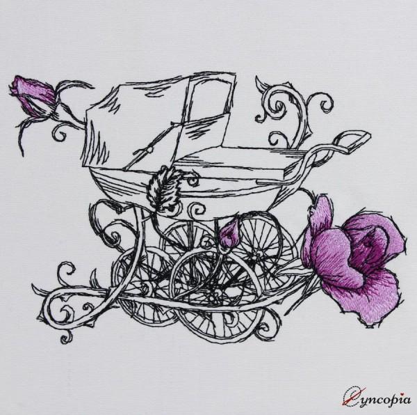 Motif de Broderie Poussette Rose romantique