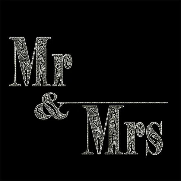 Embroidery Design Wedding Mr Mrs Line