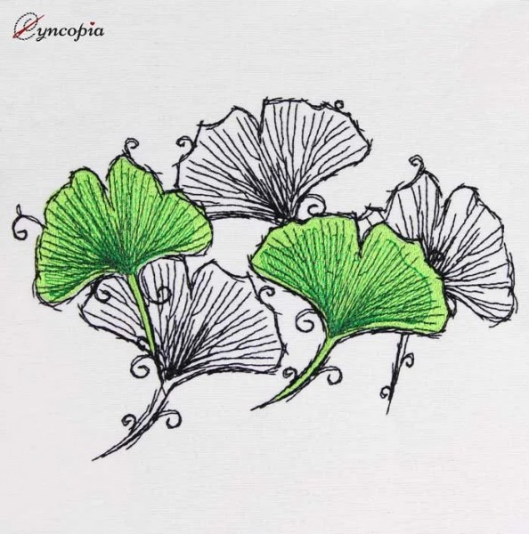 Embroidery Design Ginkgo Romantic