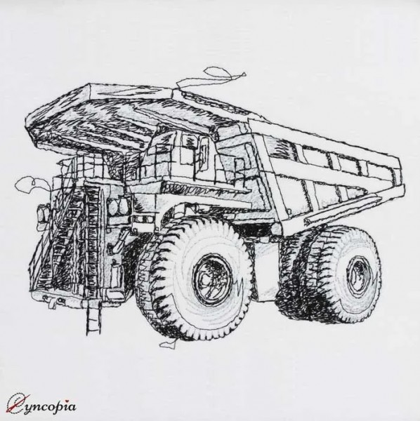 Embroidery Design Dump Truck scribble