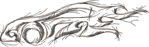Embroidery Design Sports Car Tribal Doodle