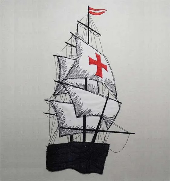 Embroidery Design Sailing Ship Doodle