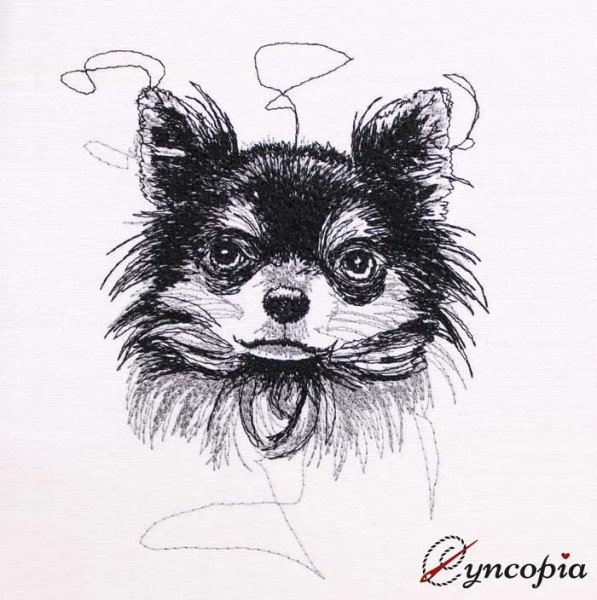 Embroidery Design Chihuahua Scribble