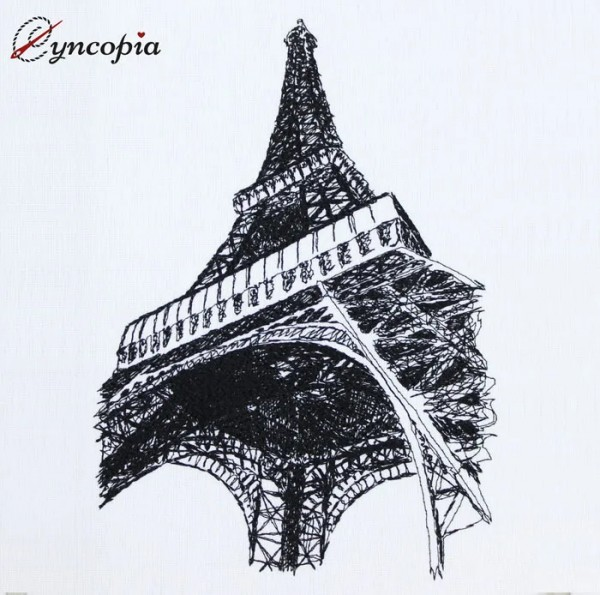 Embroidery Design Eiffel Tower scribble