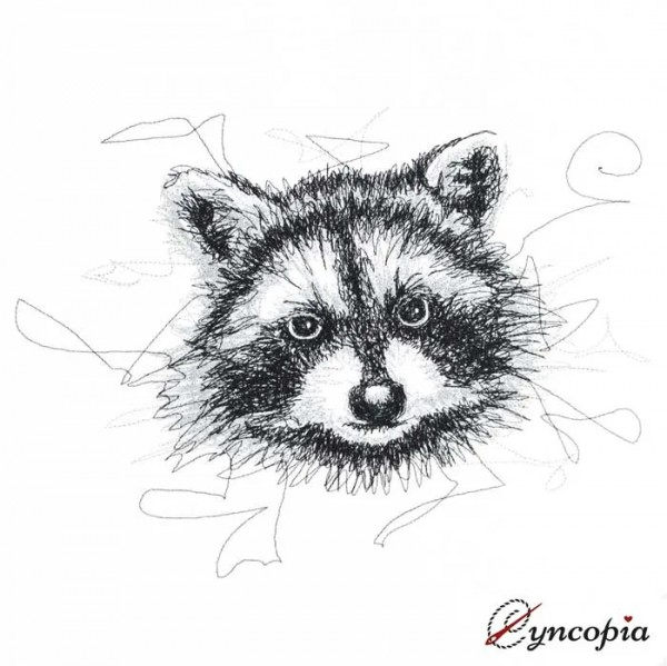 Embroidery Design Raccoon Scribble