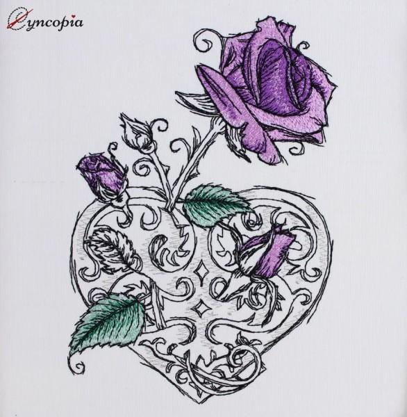 Stickdatei Rosenherz romantic