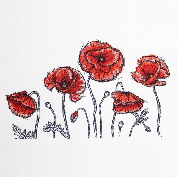 Embroidery Design Poppy Romantic