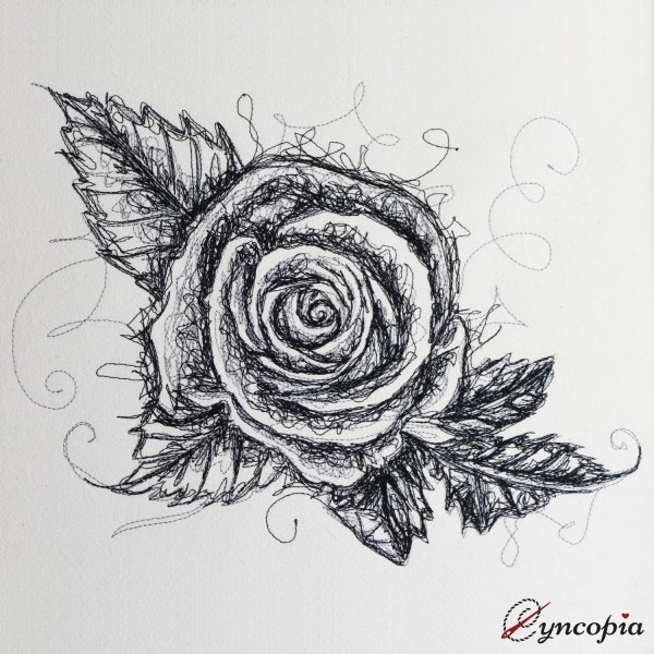 Fichier Broderie Rose avec Feuilles scribble