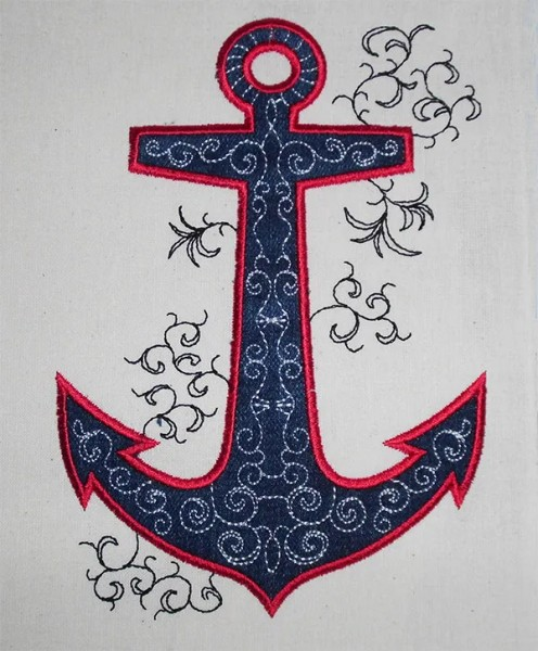 Embroidery Design Anchor Romantic appli