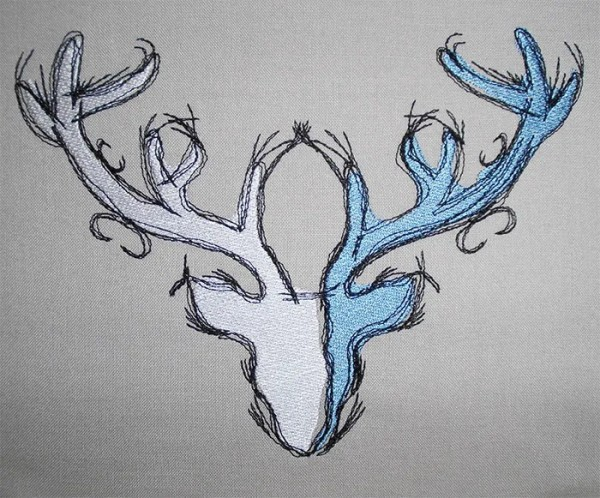 Fichier Broderie Cerf scribble