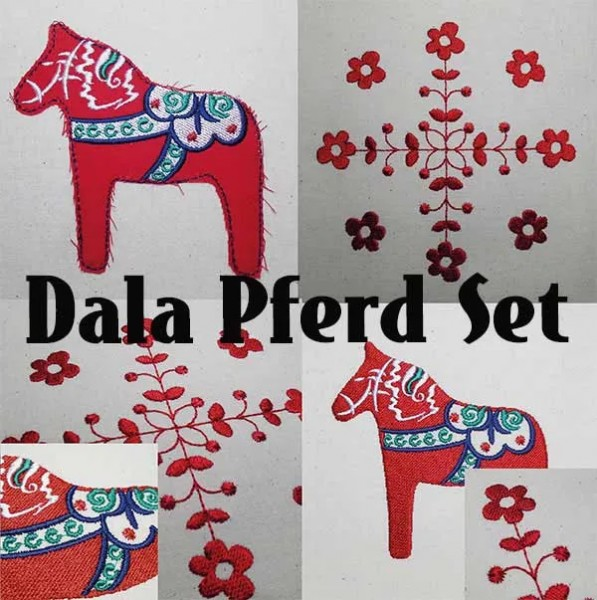 Embroidery Design Dala Horse Set