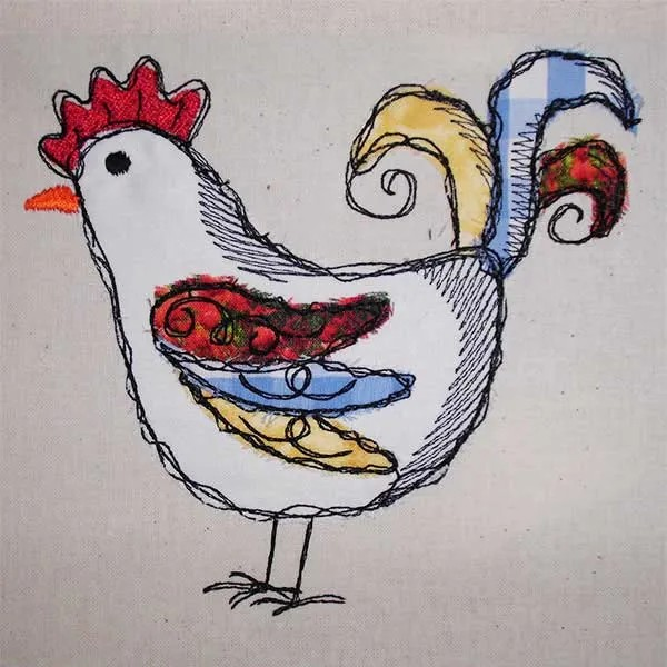 Embroidery Design Rooster Scribble Doodle