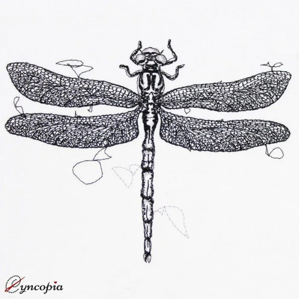 Embroidery Design Dragonfly Scribble