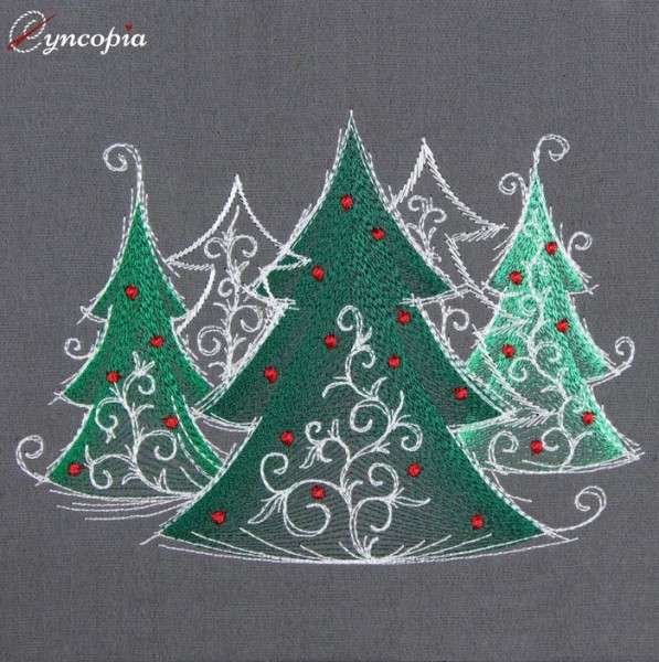 Embroidery Design Christmas Tree romantic