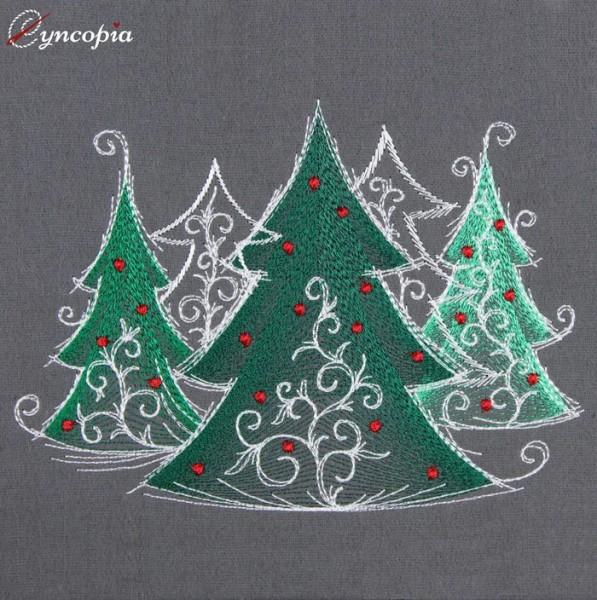 Fichier Broderie Arbres de Noël romantique