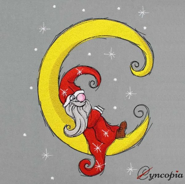 Embroidery Design Christmas gnome moon