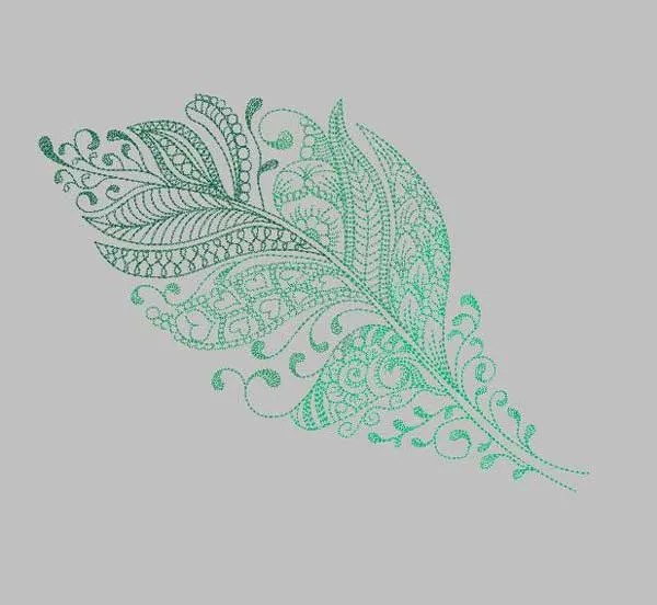 Embroidery Design Feather Zendoodle