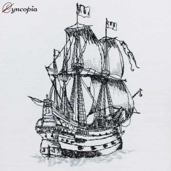 Embroidery Design Sailing Ship Antique Scribble
