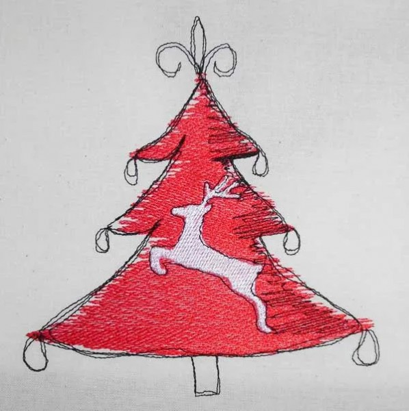 Embroidery Design Reindeer christmastree