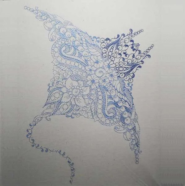 Embroidery Design Manta Ray Zendoodle