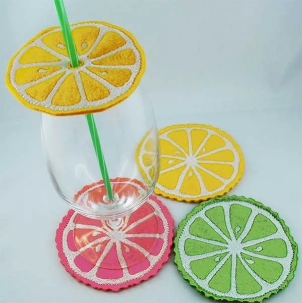 Embroidery Design Citrus Coaster ITH