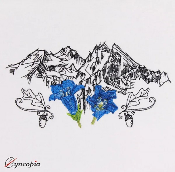 Embroidery Design Gentian mountains