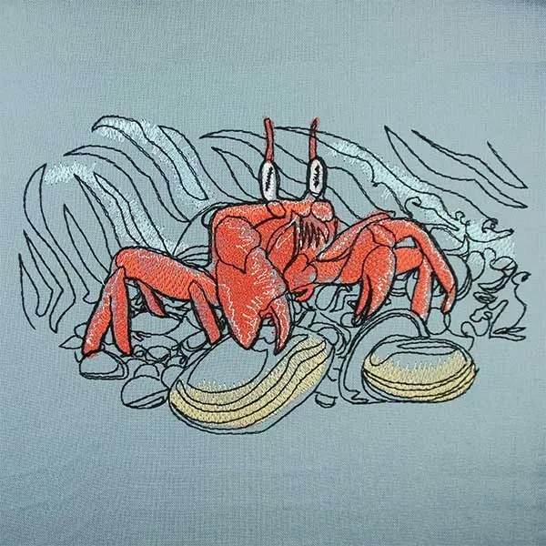 Embroidery Design Crabb at beach