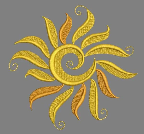 Embroidery Design Yellow Sun