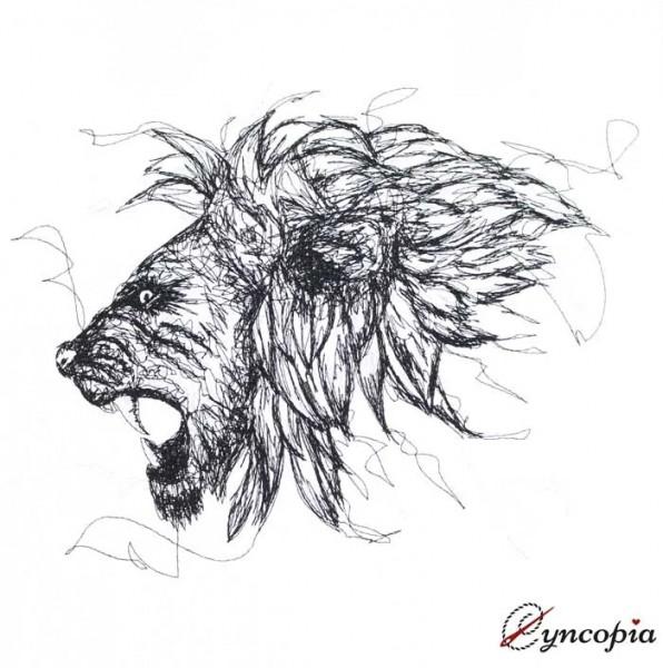 Stickdatei Wütender Löwe Scribble