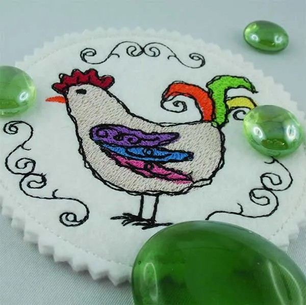 Embroidery Design Rooster scribble coaster ITH