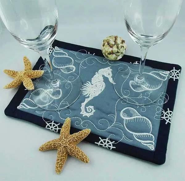 Embroidery Design Seahorse MugRug ITH