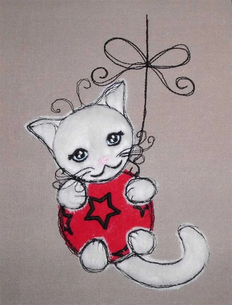 Embroidery Design Kitten on Ball doodle