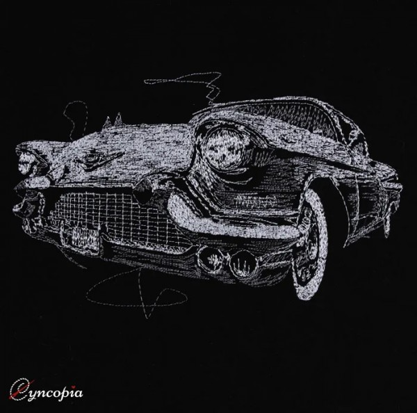 Embroidery Design Oldtimer 50 scribble