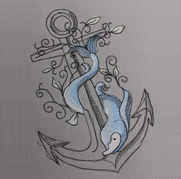 Embroidery Design Anchor Fish Romantic
