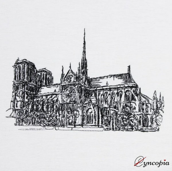 Embroidery Design Notre Dame scribble