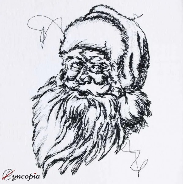 Embroidery Design Santa Claus Scribble