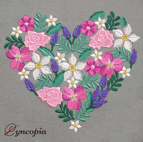 Embroidery Design Flower ornament Heart
