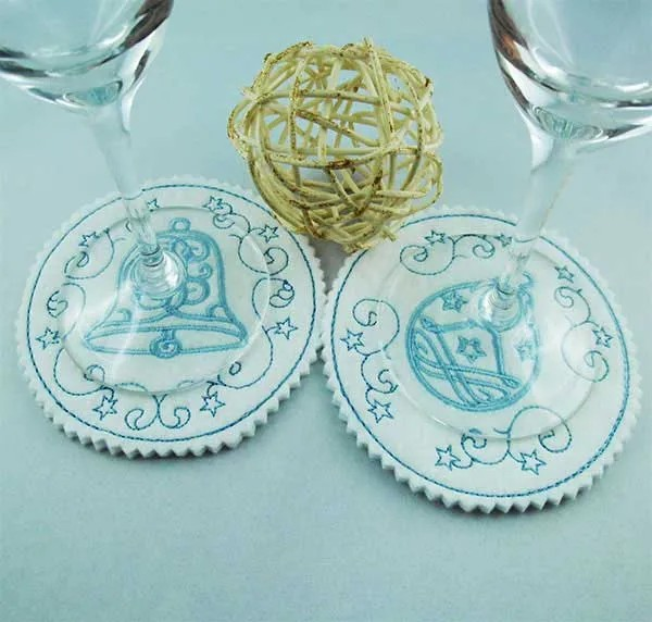 Embroidery Design Bell Ball Coaster ITH
