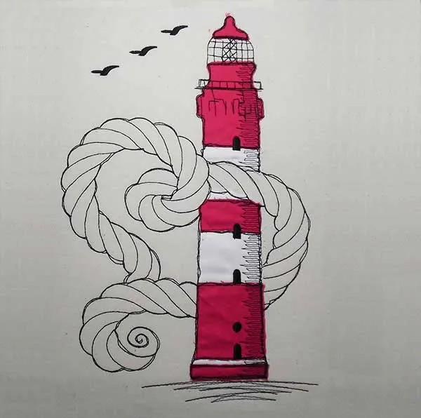 Embroidery Design Amrum Lighthouse Doodle