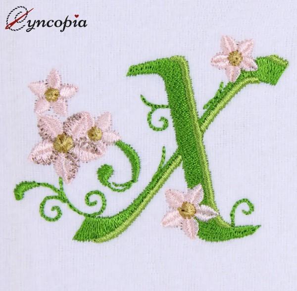Embroidery Design Marguerites Alphabeth X