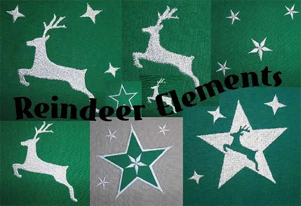 Embroidery Design Reindeer Elements Set