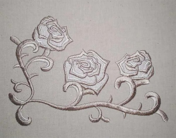 Embroidery Design Three Roses