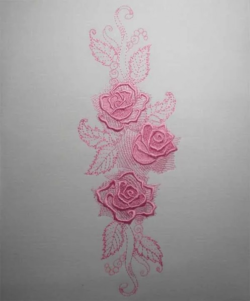 Embroidery Design Gorgeous Rose Long