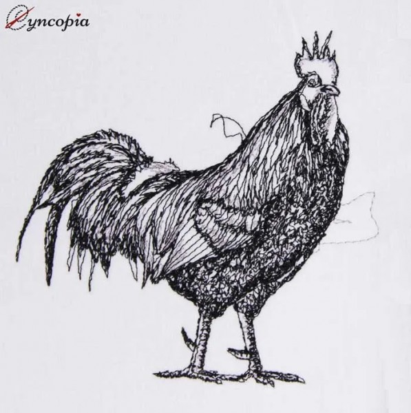 Embroidery Design Proud Rooster scribble