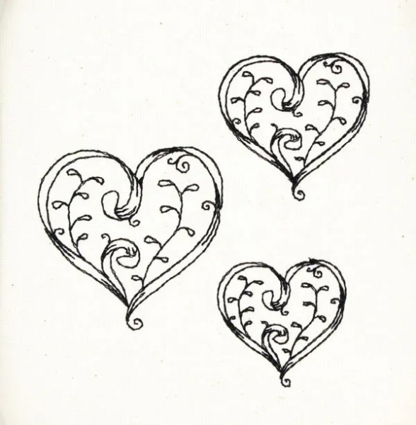 Embroidery Design Heart with Ribbon