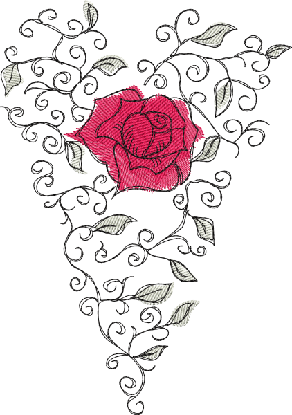 Embroidery Design Rose Heart Romantic
